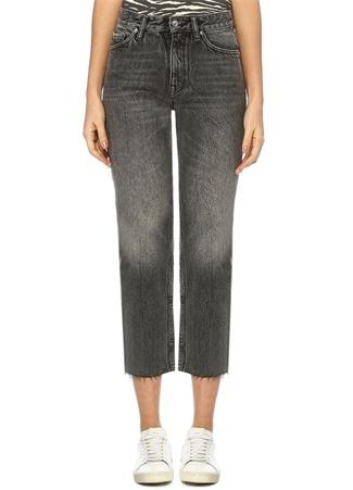 Ava Gri Yüksek Bel Boru Paça Crop Jean Pantolon