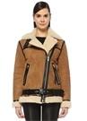 Taba Shearling Detaylı Şeritli OversizeSüet Ceket