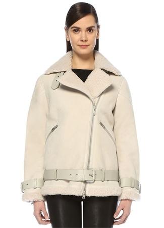 Allsaints Kadın Hawley Ekru Shearling Detaylı Oversize Süet Ceket Beyaz M EU