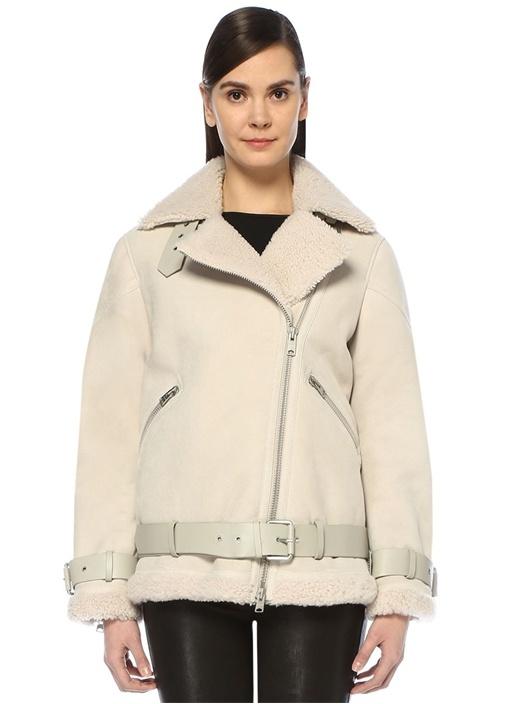 Hawley Ekru Shearling Detaylı Oversize Süet Ceket