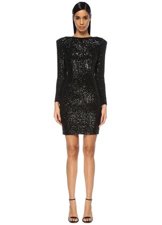 Maison Kairos Kadın Dubai Siyah Sırt Dekolteli İşlemeli Mini Elbise 38 EU