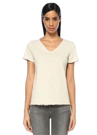 American Vintage Kadın Sonoma Ekru V Yaka T-shirt Gri L EU