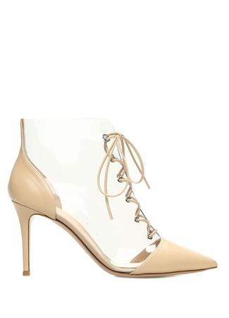 Kadın Bej Detaylı Deri Topuklu Ayakkabı 37.5 EU