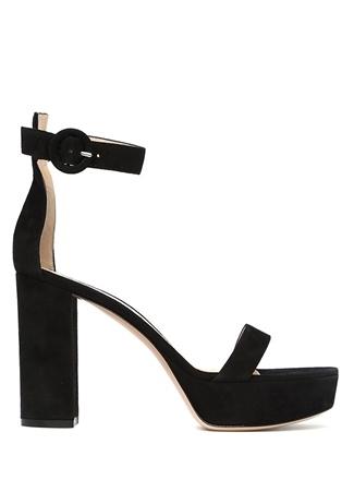 Kadın Siyah İnce Bantlı Süet Sandalet 36.5 EU