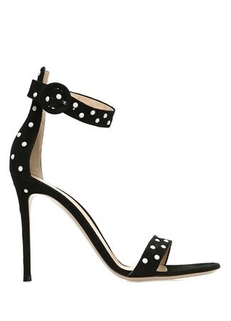 Kadın Reine Siyah Troklu Süet Topuklu Sandalet 36.5 EU