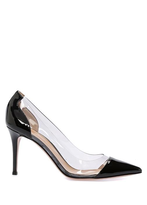 Plexi 85 Siyah Transparan Bantlı Deri Stiletto