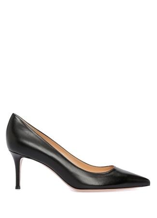 Gianvito 70 Siyah Deri Topuklu Ayakkabı
