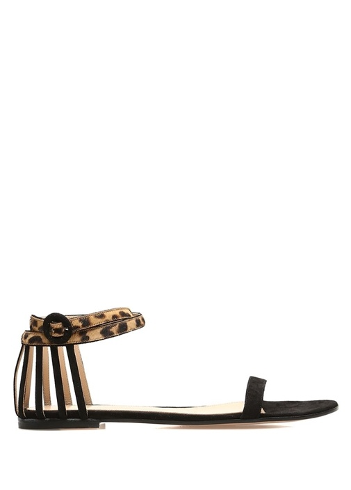 Siyah Leopar Desen Detaylı Kadın Süet Sandalet