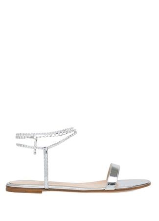 Kadın Silver Taşlı Zincir Detaylı Deri Sandalet Gri 37 EU