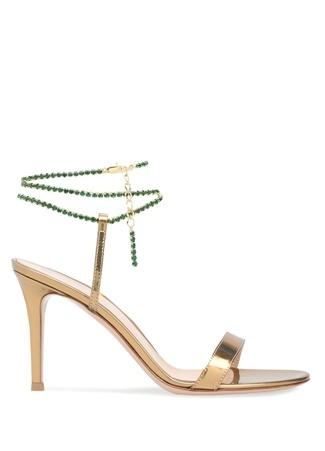 Kadın Gold Taşlı Zincir Detaylı Deri Sandalet Altın Rengi 36 EU