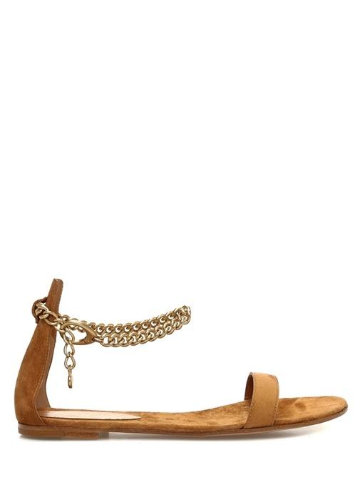 Taba Gold Zincir Detaylı Kadın Süet Sandalet