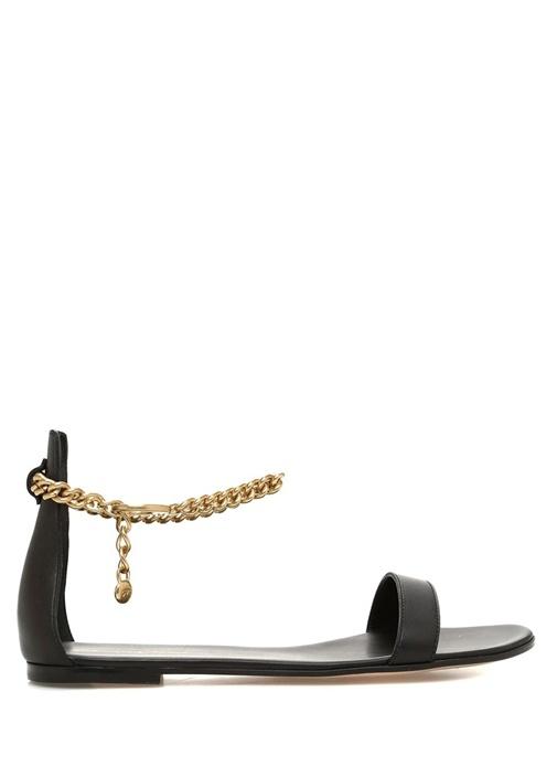 Siyah Gold Zincir Detaylı Kadın Deri Sandalet