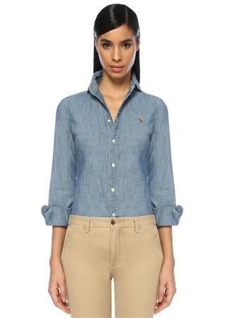 c5f9da5c7e159 Polo Ralph Lauren Kadın Slim Fit Chambray Denim Gömlek Mavi 4 US