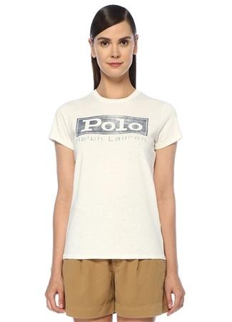 Beyaz Önü Baskılı Logo Nakışlı T-shirt