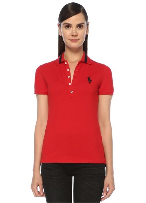 Slim Fit Kırmızı Polo Yaka Simli Şeritli T-shirt