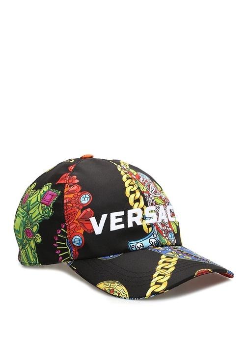 Siyah Karışık Baskılı Logolu Erkek Şapka