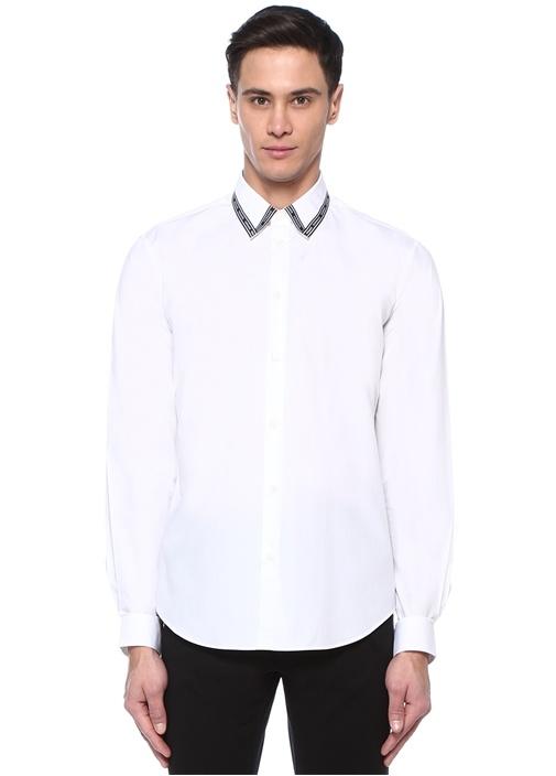 Nastro Beyaz Yakası Logo Şeritli Gömlek