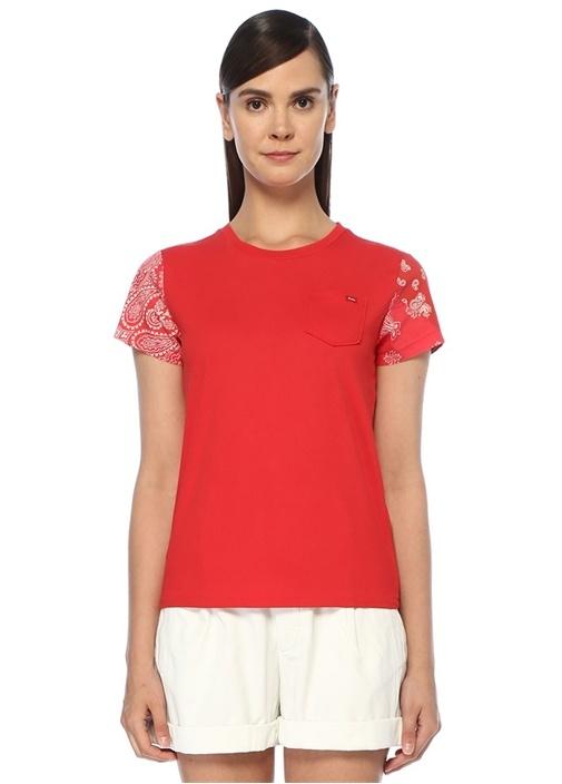 Kırmızı Şal Desen Garnili T-shirt