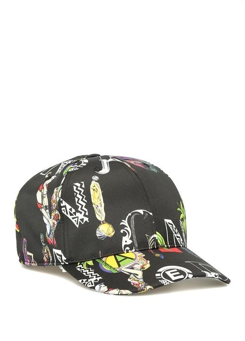 Versus Siyah Baskılı Erkek Şapka
