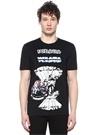 Versus Siyah Bisiklet Yaka Baskılı T-shirt