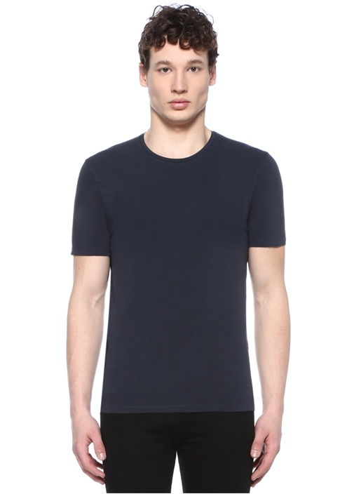Odamint Lacivert Bisiklet Yaka Basic T-shirt