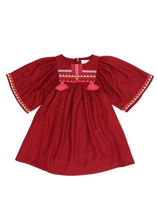 Moroccan Bordo Etnik Desenli Kız Çocuk Elbise