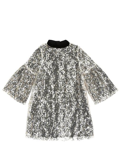 Sequin Hannah Silver Payetli Kız Çocuk Elbise