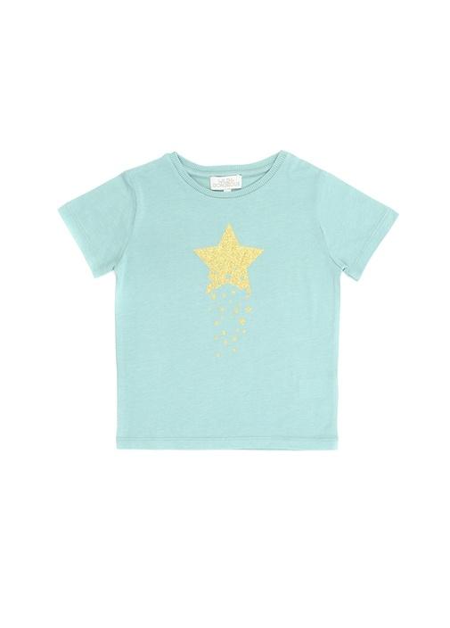 Yeşil Sim Baskılı Kız Çocuk T-shirt