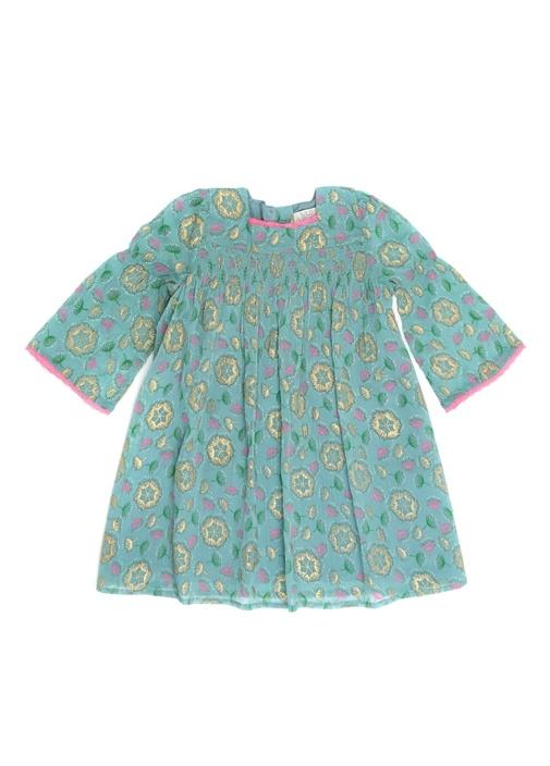 Gwyneth Mavi Kare Yaka Çiçekli Kız Çocuk Elbise