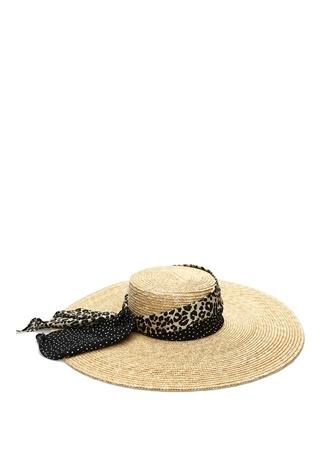 Genie by Eugenia Kim Kadın Lexie Leopar Puantiye Bantlı Hasır Şapka Bej EU