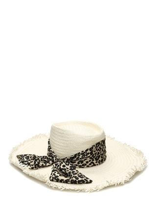 Genie by Eugenia Kim Kadın Carson Ekru Leopar Desen Bantlı Hasır Şapka Beyaz EU