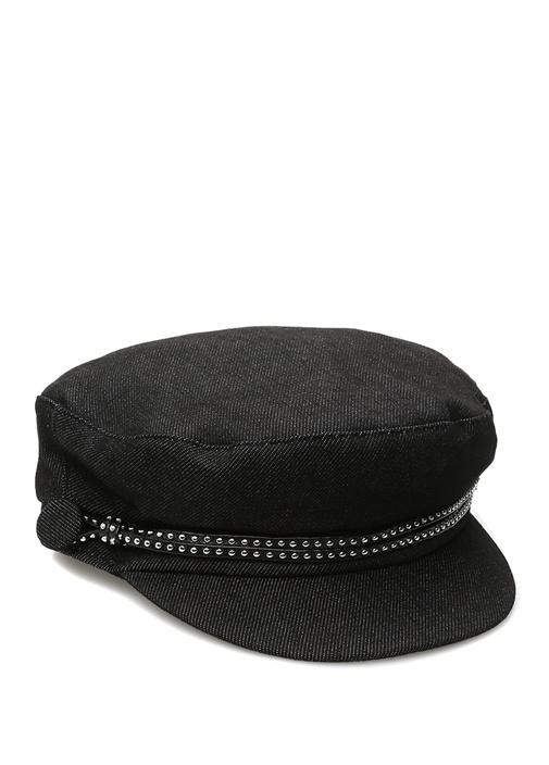 Jessa Siyah Troklu Bantlı Kadın Kasket Şapka