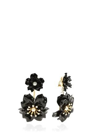 KEN SAMUDIO 4lü Siyah Çiçek Formlu Küpe Seti