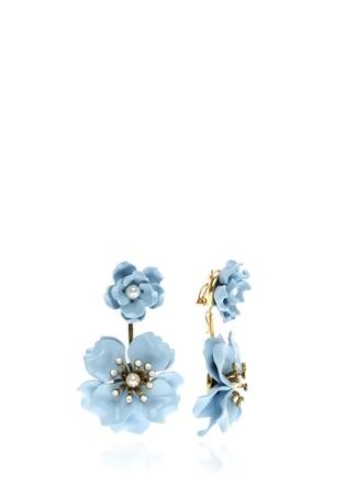 KEN SAMUDIO 4lü Mavi Çiçek Formlu Küpe Seti
