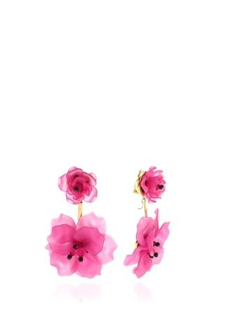 KEN SAMUDIO 4lü Fuşya Çiçek Formlu Küpe Seti