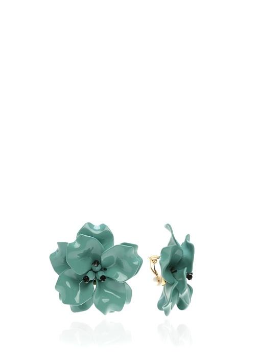 Mavi Çiçek Formlu Kadın Küpe