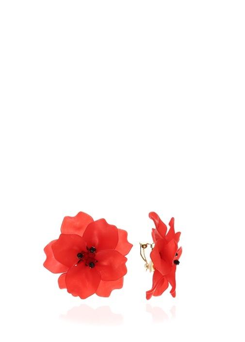 Kırmızı Çiçek Formlu Kadın Küpe