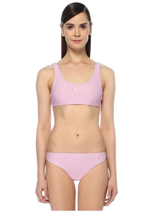 Lila Somon Logo Baskılı Çift Taraflı Bikini Üstü