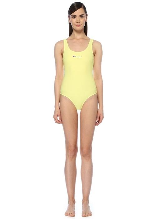 Neon Sarı U Yaka Logolu Mayo