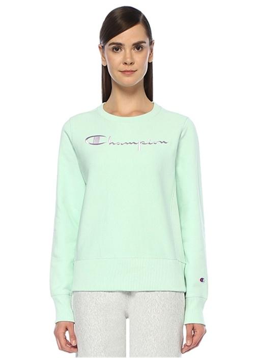 Yeşil Logo Nakışlı Rib Detaylı Sweatshirt
