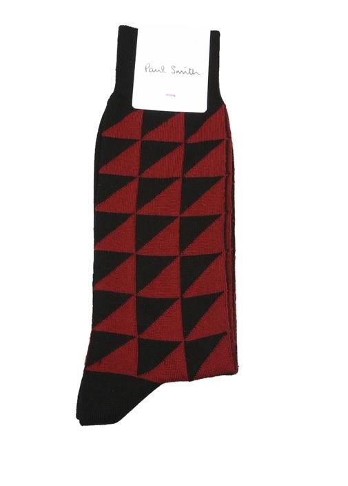 Siyah Bordo Geometrik Desenli Erkek Çorap