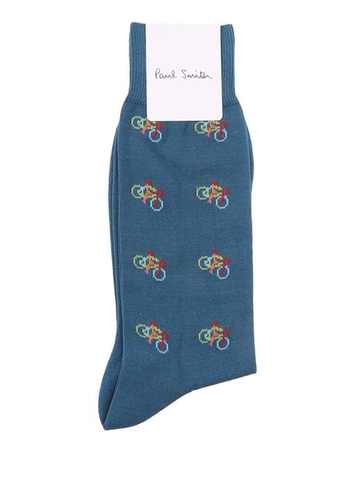 Mavi Logolu Bisiklet Jakarlı Erkek Çorap