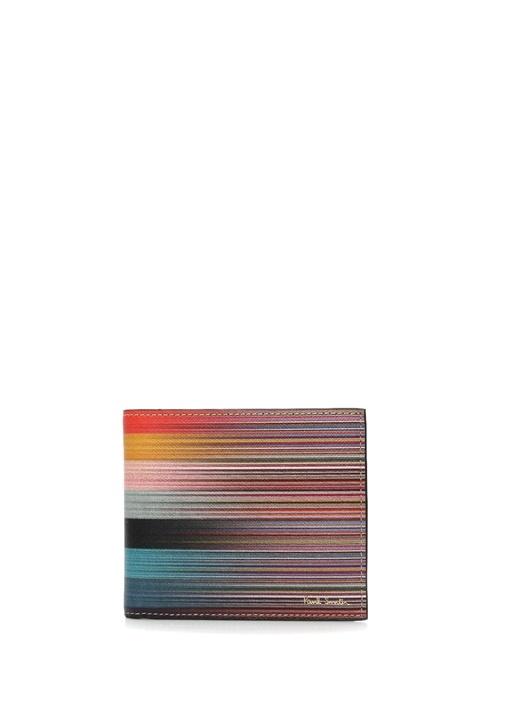 Colorblocked Çizgili Erkek Deri Cüzdan