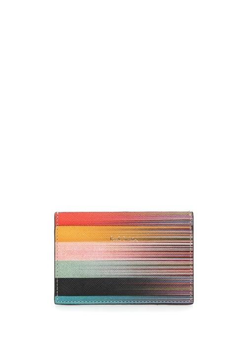 Colorblocked Çizgili Erkek Deri Kartlık