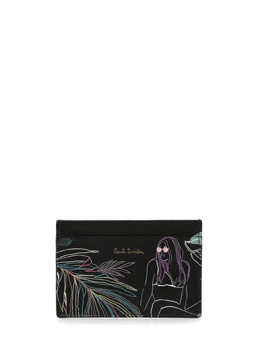 Siyah Figür Desenli Çizgili Erkek Deri Kartlık