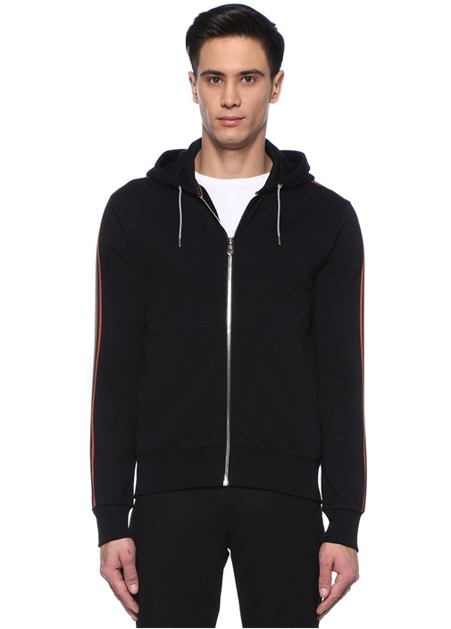 Siyah Kapüşonlu Kolu Şeritli Sweatshirt