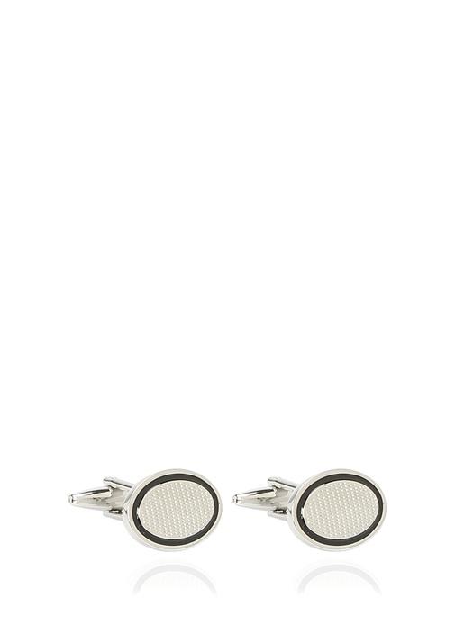 Silver Oval Formlu İşleme Detaylı Kol Düğmesi