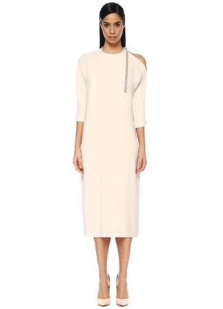 Fabiana Filippi Kadın Pembe Yakası Şerit Bağcıklı Midi Elbise 42 I (IALY) Ürün Resmi