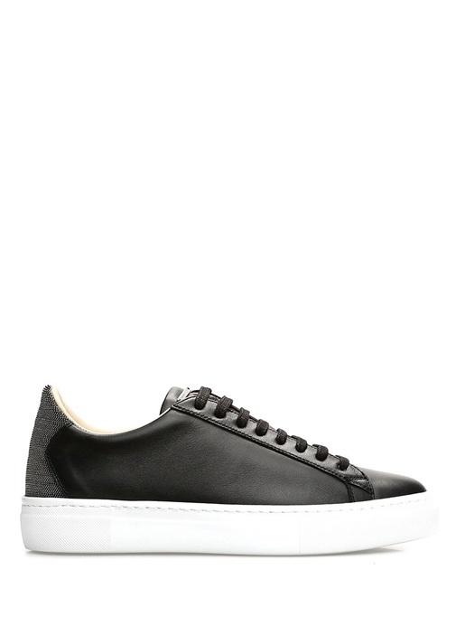 Caterina Siyah Zincir Şeritli Kadın Deri Sneaker