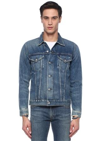 Mavi Kontrast Dikişli Yıpratmalı Denim Ceket